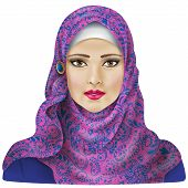 stock photo of hijabs  - Young arab woman  dressed in colored hijab - JPG
