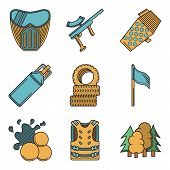 foto of paintball  - Set of flat color vector icons with black contour for paintball on white background - JPG