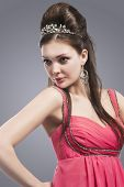 pic of tiara  - Caucasian Brunette woman With Tiara on Her Head - JPG