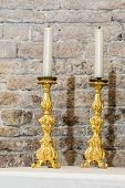 picture of altar  - pair of golden candlesticks on the altar - JPG