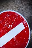 stock photo of no entry  - No entry dirty sign on a wall - JPG