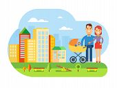 image of young baby  - Happy young family with a baby in stroller Happy Young Family with Baby on City Landscape concept flat vector illustration - JPG