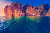 foto of phi phi  - Cliff and the clear sea Phi Phi Leh south of Thailand - JPG