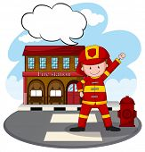 picture of fire-station  - Fire fighter standing in front of fire station - JPG