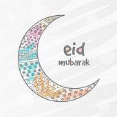 stock photo of crescent-shaped  - Stylish crescent moon decorated by different shapes for Muslim community festival - JPG