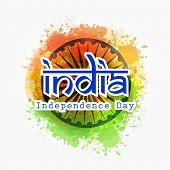 picture of ashoka  - Stylish text India on Ashoka Wheel - JPG