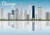 picture of skyscrapers  - Chicago city skyline with grey skyscrapers and reflections - JPG