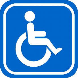 picture of handicapped  - White and blue handicapped person sign - JPG
