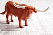 picture of nyse  - A bull on a financial newspaper representing good returns - JPG