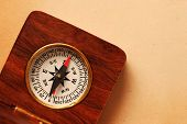 Antique Wooden Compass Over Old Background poster