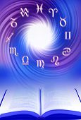 symbols of zodiac with blue oink whirl with a book like a concept of learning astrology