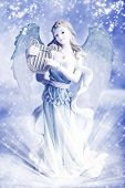 a beautiful Christmas angel over blue winter background