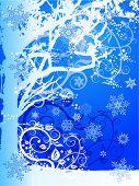 Постер, плакат: зимой дерево & снежинки