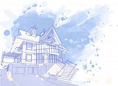 house: vector watercolor draw