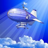 blue sky & dirigible balloon - vector