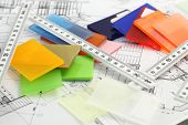 color samples of architectural materials - plastics,  Metric Folding ruler and architectural drawing