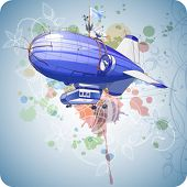 Dirigible balloon, blue sky & floral calligraphy ornament - a stylized orchid, color paint backgroun