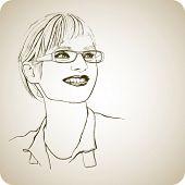 Постер, плакат: Молодая девушка в очках с улыбкой Векторные иллюстрации