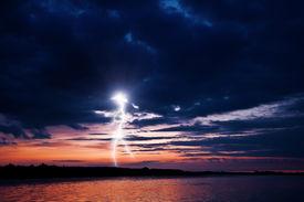 picture of lightning bolt  - lightning on night lake - JPG