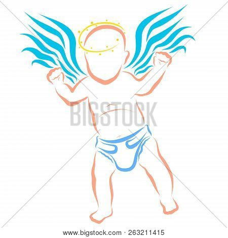 poster of Winged Baby In A Diaper With A Halo Over His Head