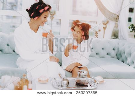 poster of Tea In Spa Salon. Mother And Daughter In Spa. Consept Beauty Salon. Beautiful Little Lady. Beautiful
