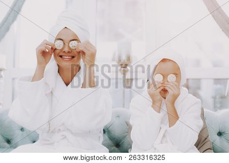 poster of Smiling People In Beauty Salon. Mother And Daughter In Spa. Consept Beauty Salon. Beautiful Face. Wo