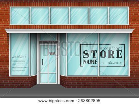 Vector Illustration Of Barbershop Storefront