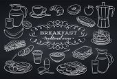 Hand Drawn Set Breakfast Icons On Chalkboard. Jug Of Milk, Coffee Pot, Cup, Juice, Sandwich And Frie poster