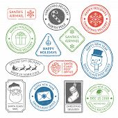 Santa Claus Post Stamp. Christmas Mail Letter Stamps, North Pole Postmark And Postage Mark Xmas Holi poster