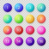 Number Bullets. Circle Buttons With Color Gradients And Numbers. Isolated Web Button Vector Set poster