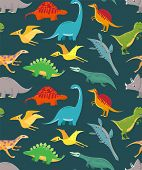 Dinosaur Seamless Pattern. Cute Kids Dinosaurs, Colorful Dragons. Vector Wallpaper poster