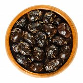 French Black Olives With Herbs In Wooden Bowl. Dried Olives, Olea Europaea, Preserved With Olive Oil poster