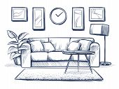 Sketch Interior. Doodle Living Room With Sofa, Cushions And Picture Frames On Wall. Freehand Drawing poster