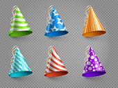 Realistic Party Hats Vector Set Isolated On Transparent Background. Illustration Of Colored Hat For  poster