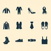 Garment Icons Set With Sleeveless Tank, Necktie, Gumshoes And Other Singlet Elements. Isolated  Illu poster