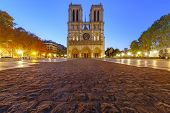Empty Square And Cathedral Of Notre Dame De Paris In The Morning, Paris, France poster