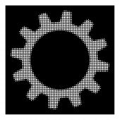 Halftone Dotted Cogwheel Icon. White Pictogram With Dotted Geometric Pattern On A Black Background.  poster
