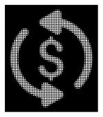 Halftone Pixelated Refresh Price Icon. White Pictogram With Pixelated Geometric Pattern On A Black B poster