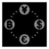 Halftone Dotted Financial Circular Relations Icon. White Pictogram With Dotted Geometric Pattern On  poster