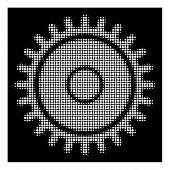 Halftone Dotted Cogwheel Icon. White Pictogram With Dotted Geometric Structure On A Black Background poster