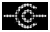 Halftone Dotted Wire Connection Icon. White Pictogram With Dotted Geometric Structure On A Black Bac poster