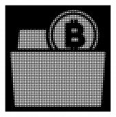 Halftone Pixelated Bitcoin Folder Icon. White Pictogram With Pixelated Geometric Structure On A Blac poster