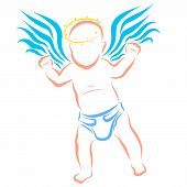 Winged Baby In A Diaper With A Halo Over His Head poster