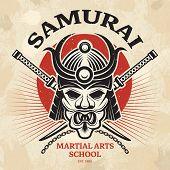 Japanese Martial Poster. Agressive Asian Warrior Mask For Armor Helmet Cordage Katana Sword Vector P poster