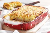 Cottage pie in the red stoneware baker