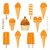 Vector Illustration For Natural Peach Ice Cream On Stick, In Paper Bowls, Wafer Cones. Ice Cream Con poster
