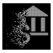Pay Library Icon With Disappearing Effect On Black Background. White Cells Are Grouped Into Vector D poster