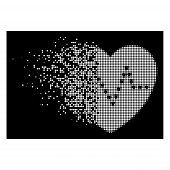 Dotted Heart Pulse Icon With Fractured Style On Black Background. White Circle Dots Are Grouped Into poster