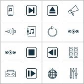 Music Icons Set With Refresh, Equalizer, Previous Music And Other Tune List Elements. Isolated Vecto poster