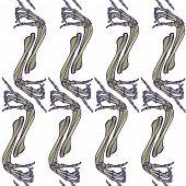 Halloween Seamless Pattern. Human Hand Bones In Various Gestures. Regular Vertical Rhythm. Isolated  poster